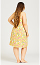 Plus Size Abstract Lace Trim Chemise - yellow