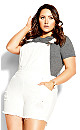 Plus Size 90's Overalls Short - ivory