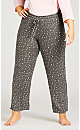 Plus Size Star Hacci Pant - grey star