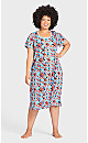 Plus Size Floral Short Sleeve Sleep Shirt - blue floral