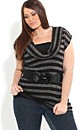 Striped Cowl Neck Top