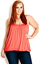Bubble Hem Cami - Watermelon - 22 / XL