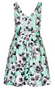 Quilted Roses Printed Fit & Flare Dress
