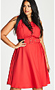 Red Belted V-Neck Veronica Fit & Flare Dress