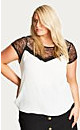 Contrast Lace Dreamer Ivory Top